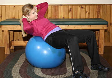Exercise Ball Oblique Crunches